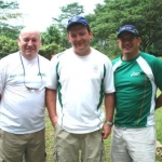From left: Mr Kevin Kilty (Team manager), Mr Derek Burnett (Trap shooter) and Prof Peter Terry (Coach)